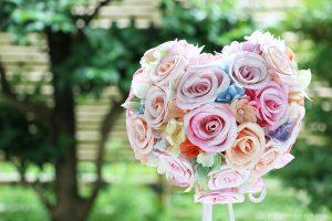 ラプンツェルイメージのハート形和紙ブーケ・花束(紙婚式ペーパーフラワー)正面