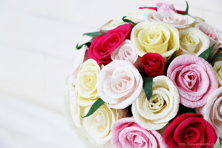 赤・白・黄系バラの和紙ブーケ・花束(紙婚式ペーパーフラワー)お花全体アップ