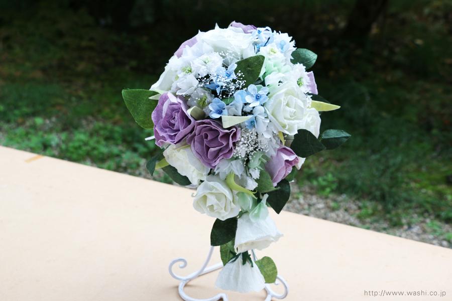白と紫バラの和紙ブーケ(正面)紙婚式