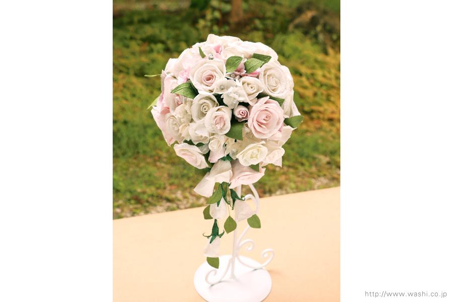 白と淡いピンクの和紙ブーケ・花束(紙婚式ペーパーフラワー)正面