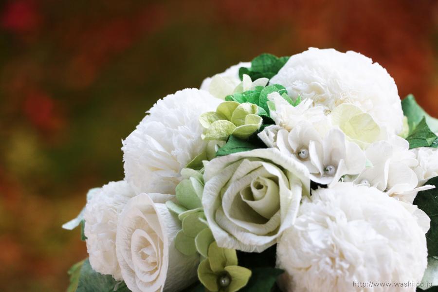 ピンポンマム風の和紙ブーケ・花束(紙婚式ペーパーフラワー)花部分アップ