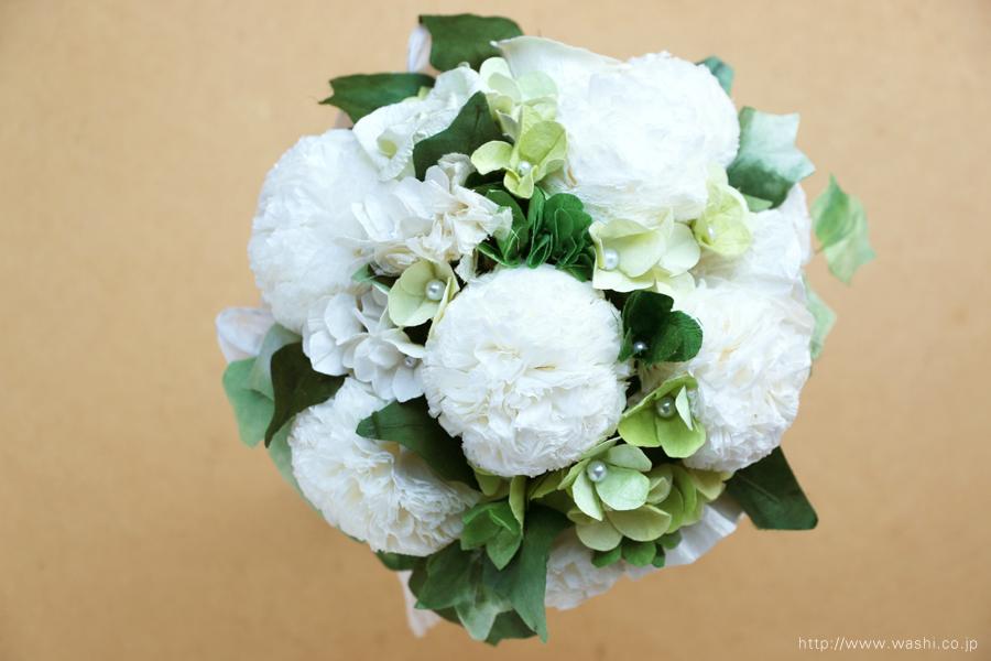 ピンポンマム風の和紙ブーケ・花束(紙婚式ペーパーフラワー)真上