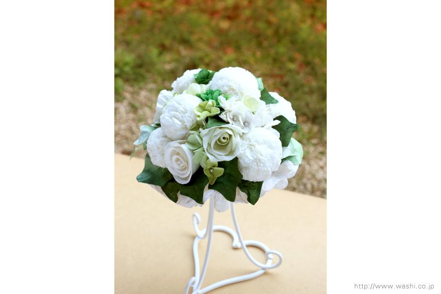 ピンポンマム風の和紙ブーケ・花束(紙婚式ペーパーフラワー)正面