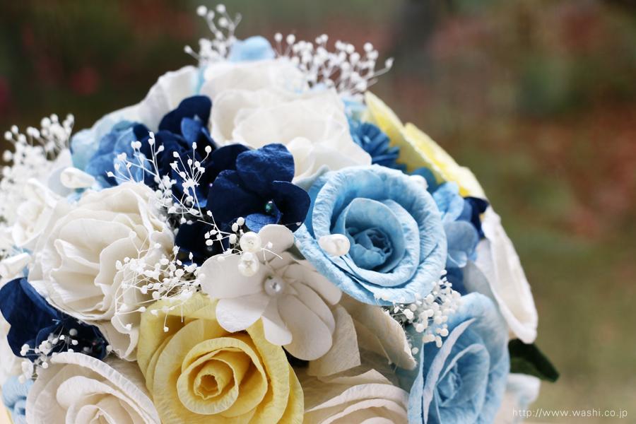 シンデレライメージの和紙ブーケ・花束(紙婚式ペーパーフラワー)お花アップ