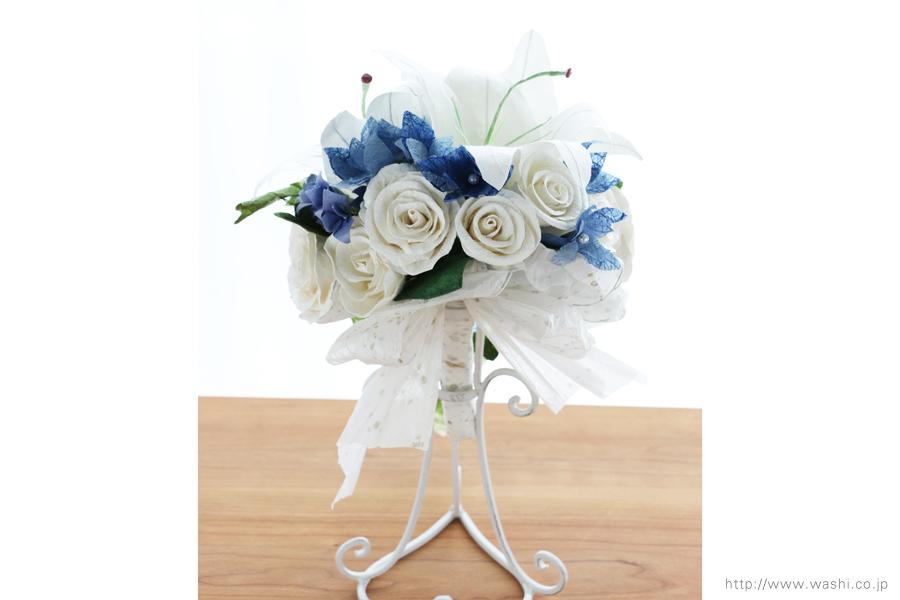 白いカサブランの和紙ブーケ・花束(紙婚式ペーパーフラワー)後ろからの写真