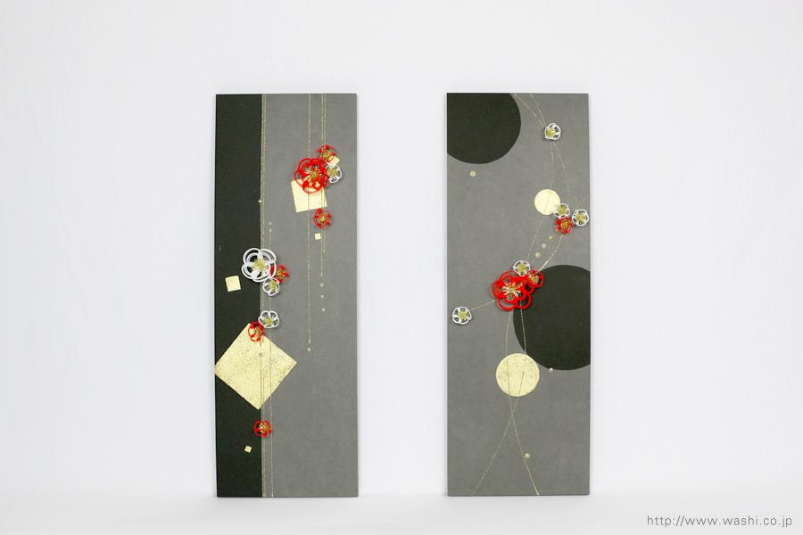 梅飾りが栄える結納水引飾りリメイクパネル(山口県O様)2