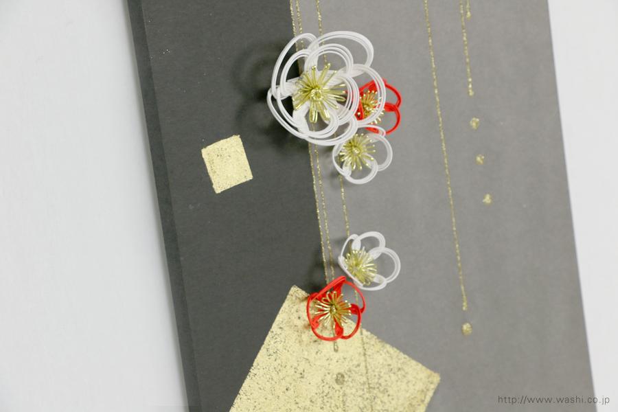 梅飾りが栄える結納水引飾りリメイクパネル(山口県O様)3
