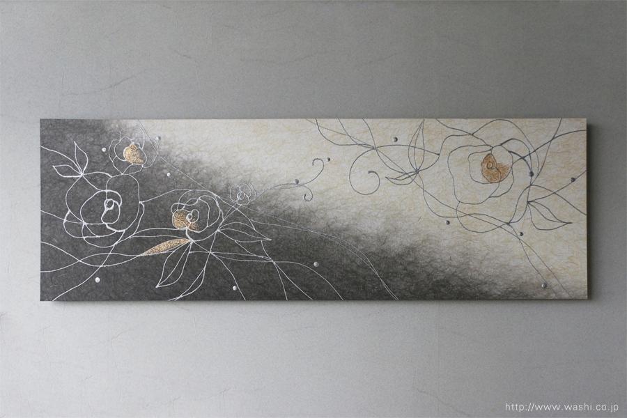 バラ柄の和紙インテリアアートパネル(墨染めベース)正面