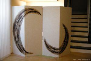 空間装飾/二曲一双、創作和紙屏風(漆・墨)1