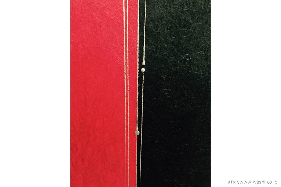 空間装飾/2色和紙屏風(赤・黒)3
