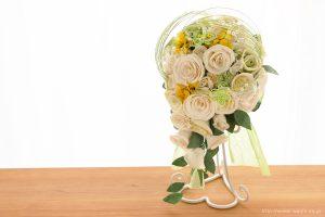 菜の花の和紙ウェディングブーケ(結婚式用)