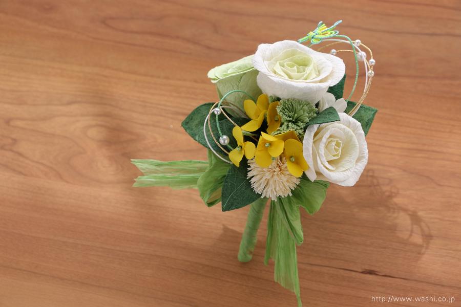 菜の花の和紙ウェディングブーケ(ブートニア)結婚式用