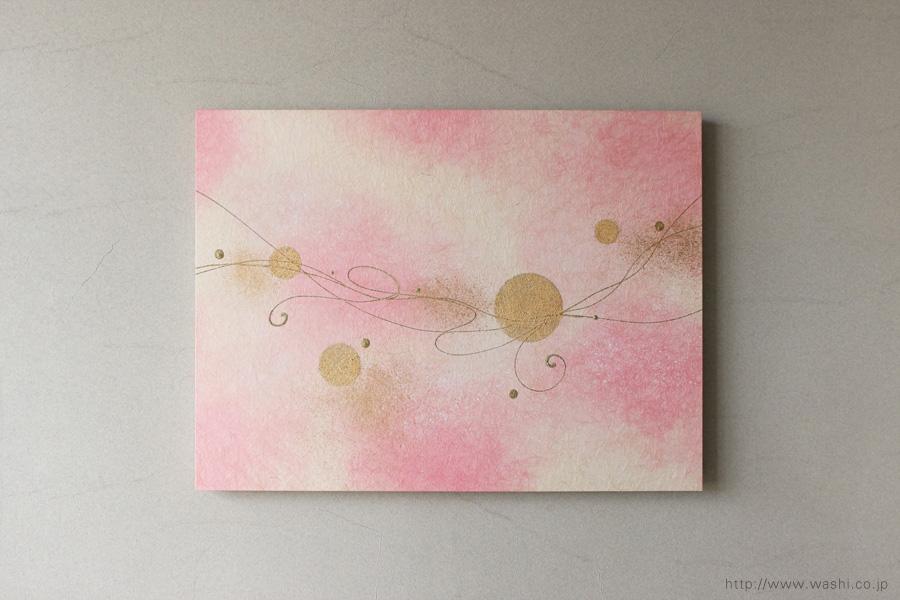 モダンな空間に優しいピンクの差し色(和紙アートパネル)正面