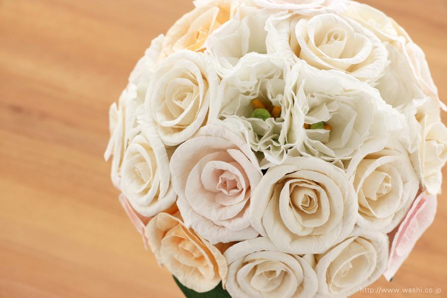 世界に一つだけのバラとトルコ桔梗の和紙ブーケ・花束(紙婚式ペーパーフラワー)真上