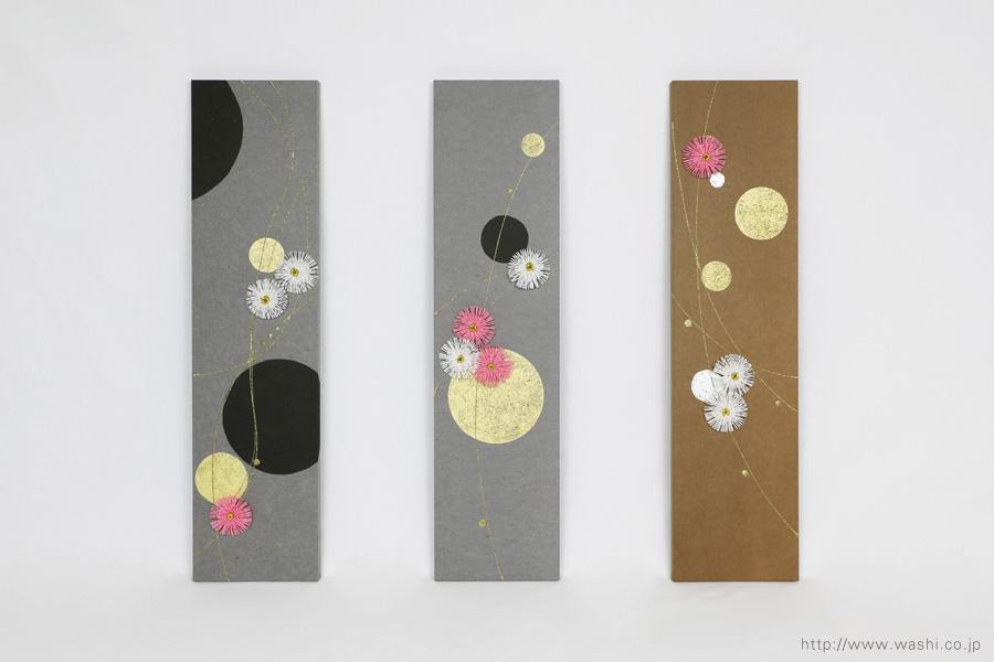 ベンガラ・漆染め和紙を使用した、結納水引リメイクパネル(大阪府)梅水引設置時、正面