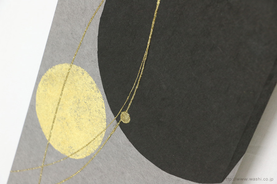 ベンガラ・漆染め和紙を使用した、結納水引リメイクパネル(大阪府)デザイン部分アップ