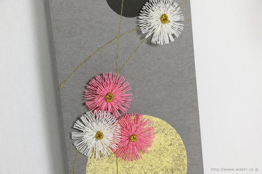 ベンガラ・漆染め和紙を使用した、結納水引リメイクパネル(大阪府)梅水引アップ