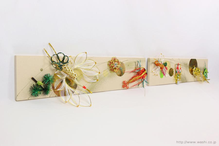 結婚披露宴の高砂メインテーブル装飾としても使われた結納水引リメイクパネル(東京都M様)正面やや斜めから