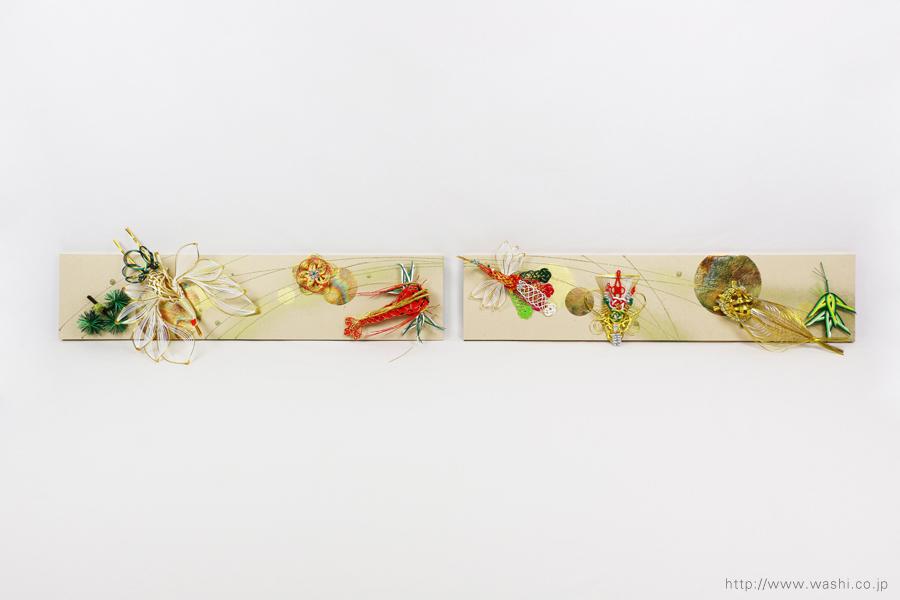 結婚披露宴の高砂メインテーブル装飾としても使われた結納水引リメイクパネル(東京都M様)正面