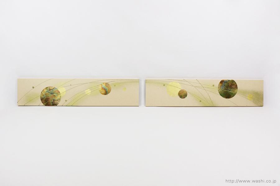結婚披露宴の高砂メインテーブル装飾としても使われた結納水引リメイクパネル(東京都M様)正面、水引飾りなし