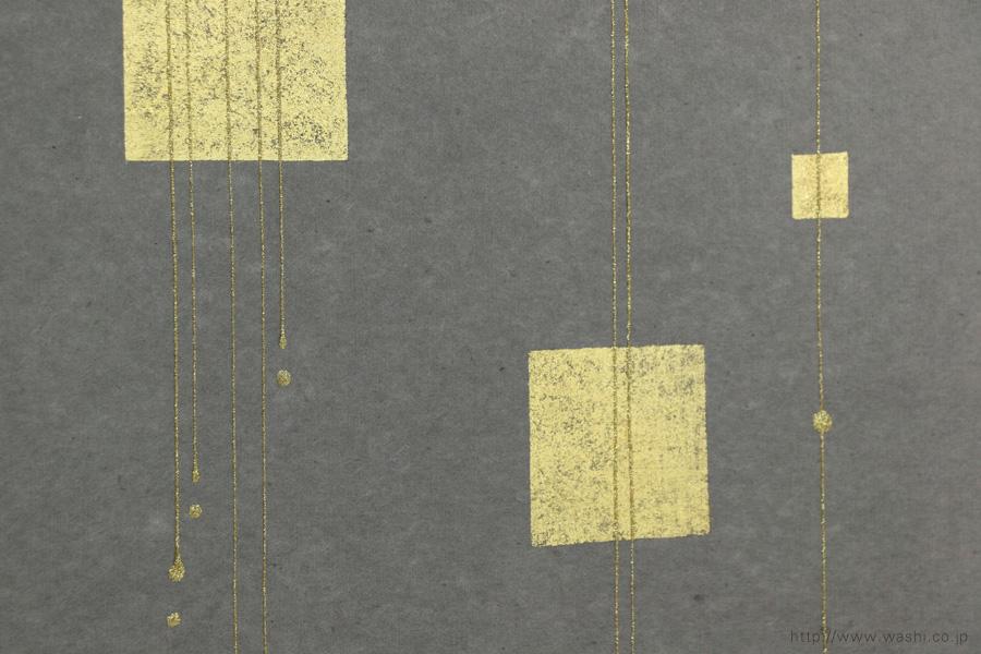 ベンガラ手漉和紙の角サイズ結納水引リメイクパネル(大阪府)グレー、デザインアップ