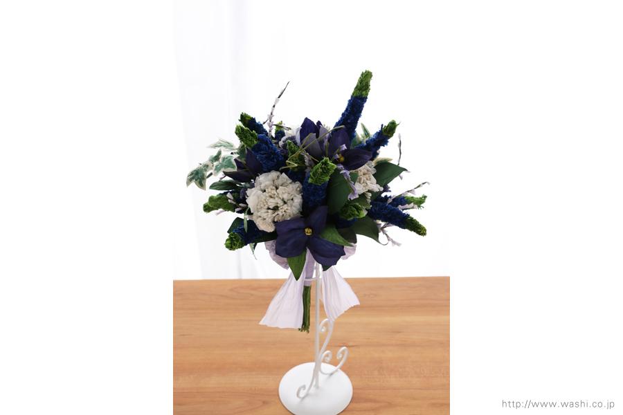 ベロニカとアイビーの和紙の花束・ブーケ(結婚1年目 紙婚式のペーパーフラワー)正面