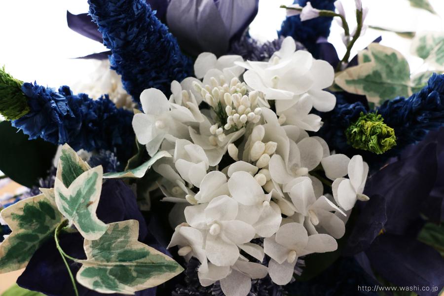ベロニカとアイビーの和紙の花束・ブーケ(結婚1年目 紙婚式のペーパーフラワー)アップ