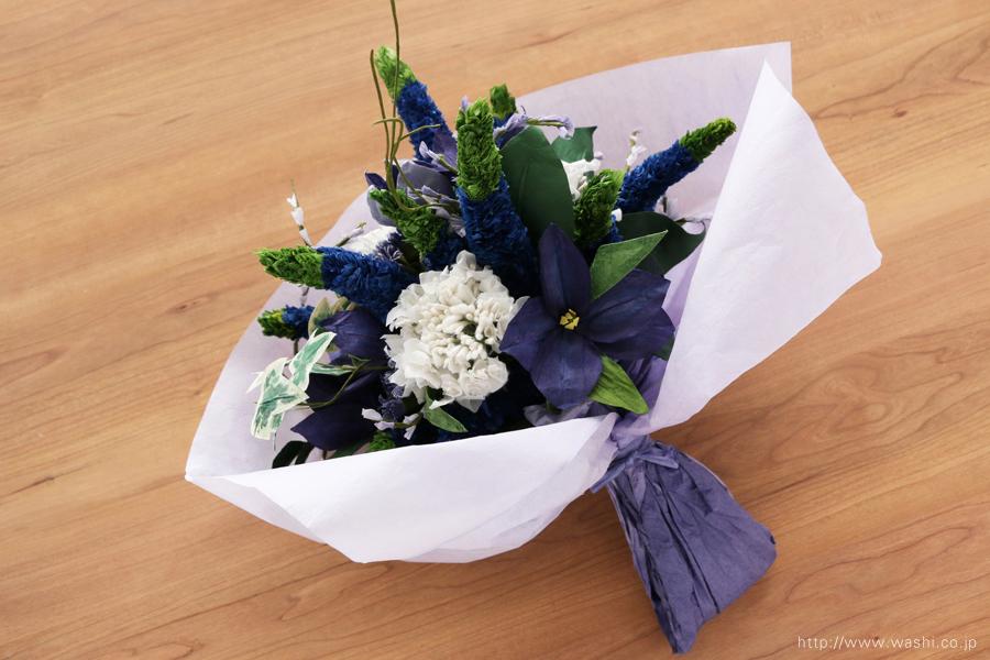 ベロニカとアイビーの和紙の花束・ブーケ(結婚1年目 紙婚式のペーパーフラワー)和紙ラッピング後