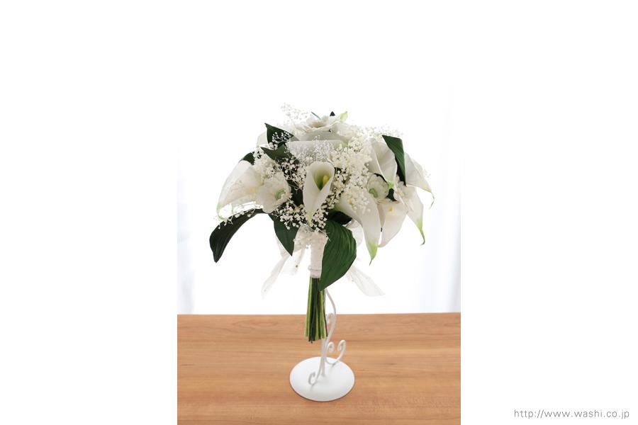 結婚記念日ペーパーフラワー|白いカラーとガーベラの和紙製ブーケ・花束(正面)