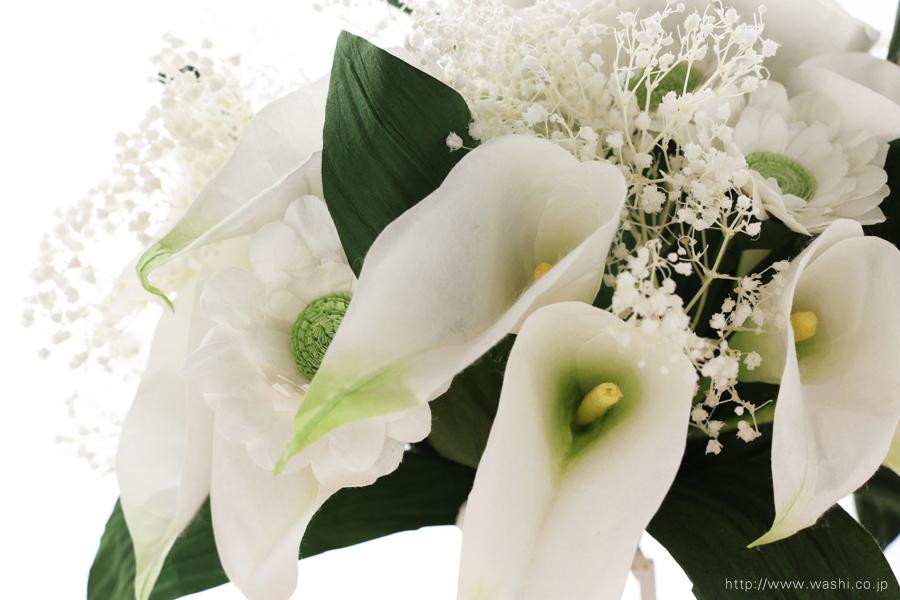 結婚記念日ペーパーフラワー|白いカラーとガーベラの和紙製ブーケ・花束(カラーアップ)