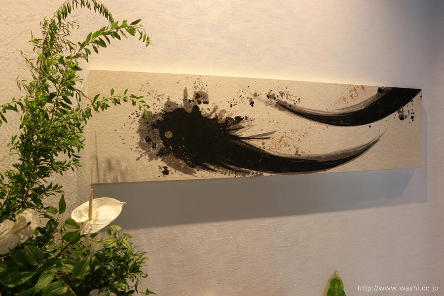 和モダン和紙ウォールアートパネル(壁インテリア)入り口用斜めから