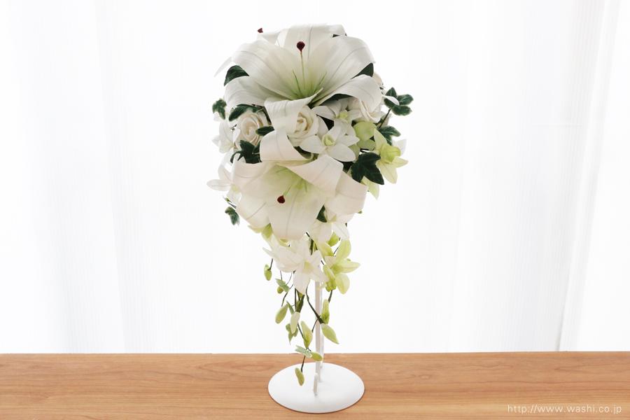 紙婚式・結婚記念日ペーパーフラワー|カサブランカとデンファレの和紙製ブーケ・花束