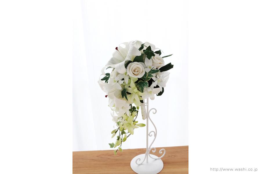 紙婚式・結婚記念日ペーパーフラワー|カサブランカとデンファレの和紙製ブーケ・花束(真横)