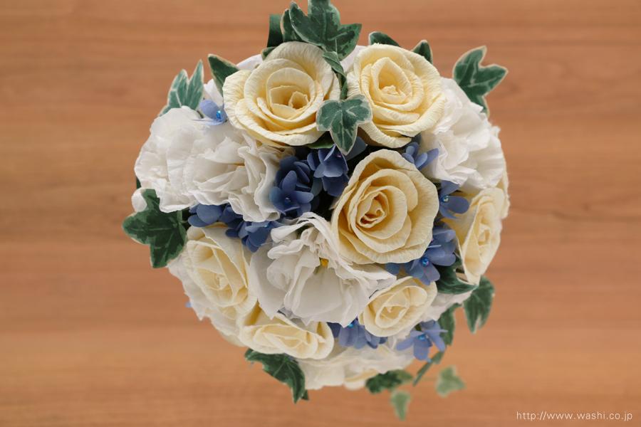 紙婚式ペーパーフラワー|トルコ桔梗とアイビーの和紙ブーケ・花束(真上)