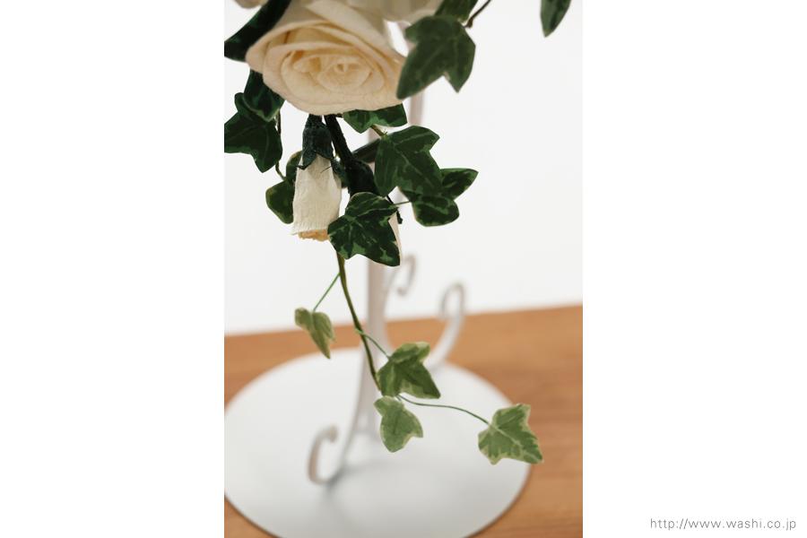 紙婚式ペーパーフラワー|トルコ桔梗とアイビーの和紙ブーケ・花束(垂れ下がり部分)