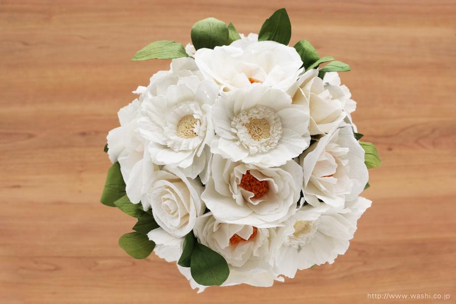 紙婚式ペーパーフラワー|ガーベラとフレンチマリアンヌの和紙花ブーケ(真上)