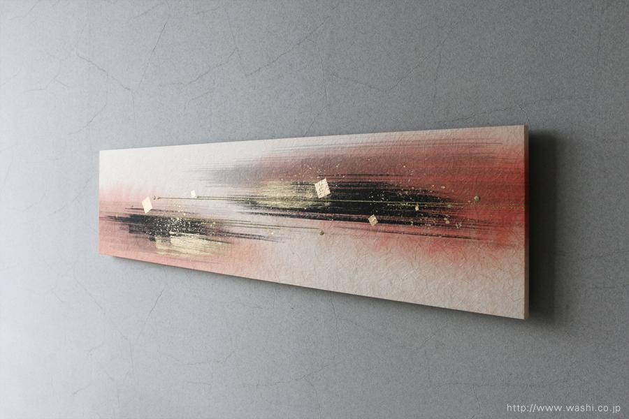 墨・顔料デザイン和紙アートパネル JAPANESE PAPER ART PANEL For living room /SUMI(墨)斜め前