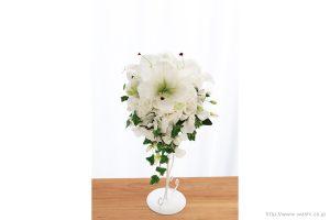 紙婚式ペーパーフラワー|結婚式の再現ブーケ・カサブランカとサマースイートピーの和紙の花束