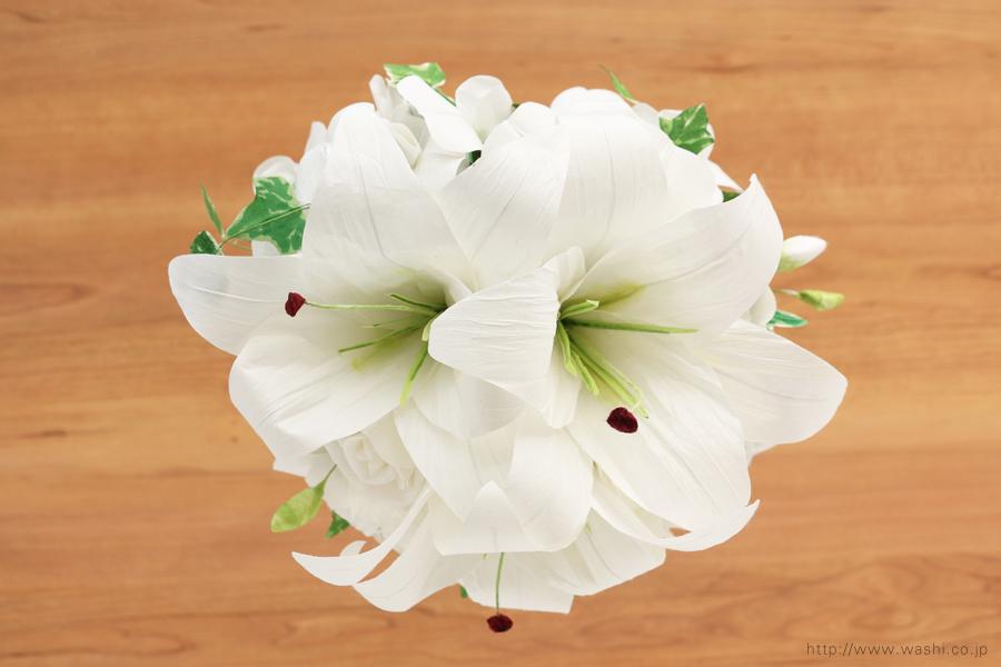 紙婚式ペーパーフラワー|結婚式の再現ブーケ・カサブランカとサマースイートピーの和紙の花束(上面)