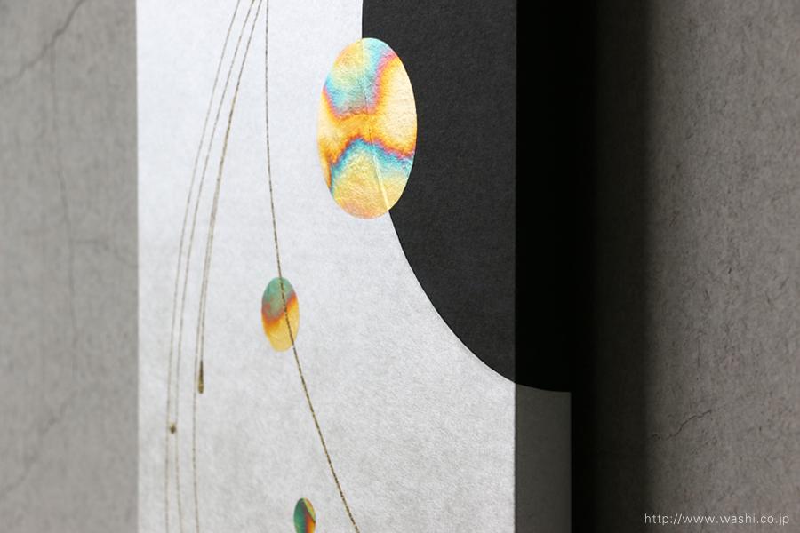 ご自宅の階段ウォールアート和紙パネル washi art panel スタイリッシュな銀箔紙ベース(デザインアップ)