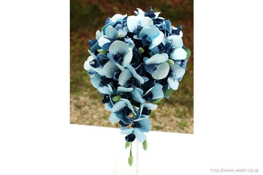 青い胡蝶蘭とバラの和紙ブーケ・花束(紙婚式ペーパーフラワー)正面