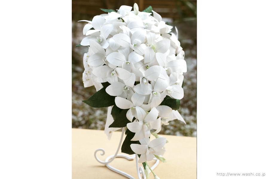 白いデンファレの和紙ブーケ・花束(紙婚式ペーパーフラワー)正面