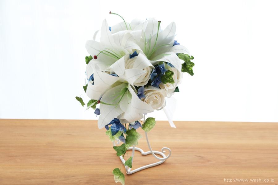 白いカサブランの和紙ブーケ・花束(紙婚式ペーパーフラワー)正面
