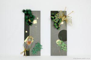 梅飾りが栄える結納水引飾りリメイクパネル(山口県O様)1