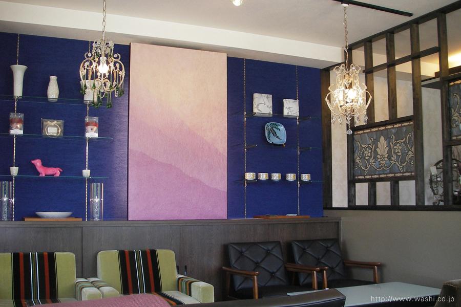 ピンクパープル染めの和紙インテリアアートパネル(左側から)