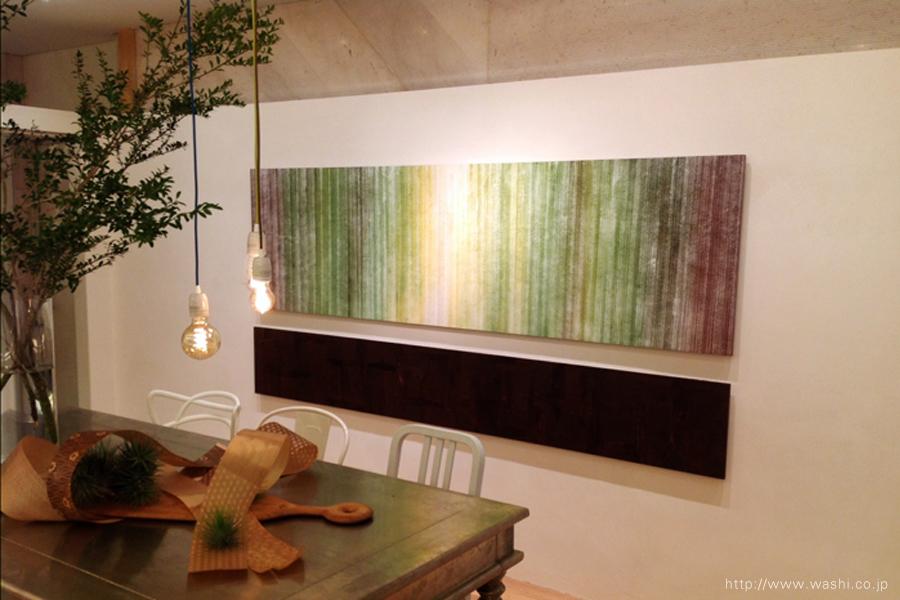 創作和紙インテリアアートパネル(染めデザイン、漆デザイン)やや斜めから