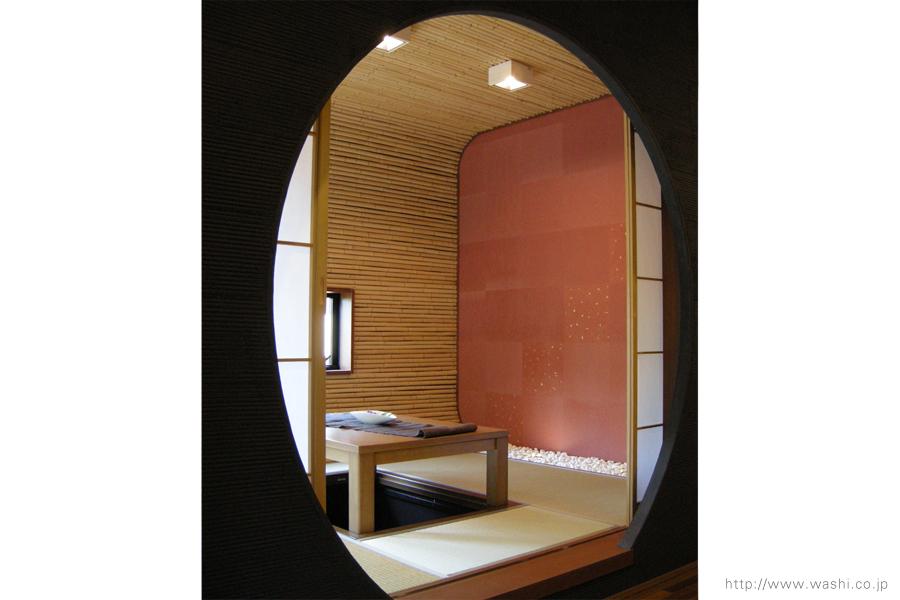 空間装飾/和紙壁紙(ベンガラ)本金入り2