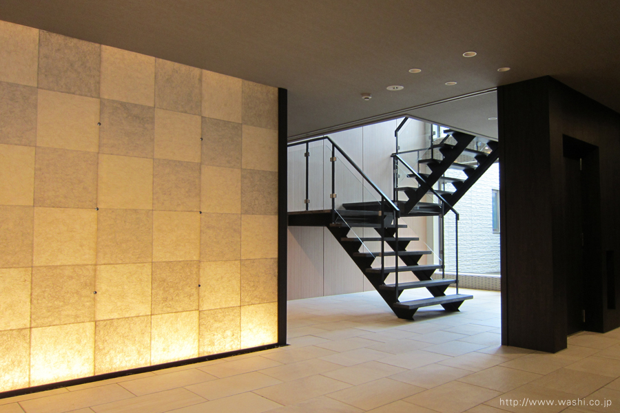 和紙照明/光壁(市松模様)1
