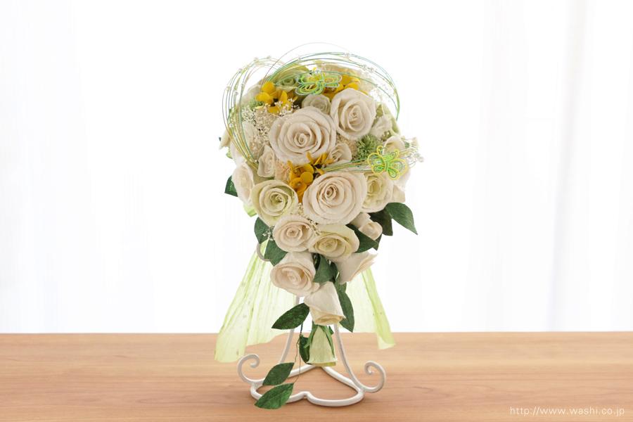 菜の花の和紙ウェディングブーケ(正面)結婚式用