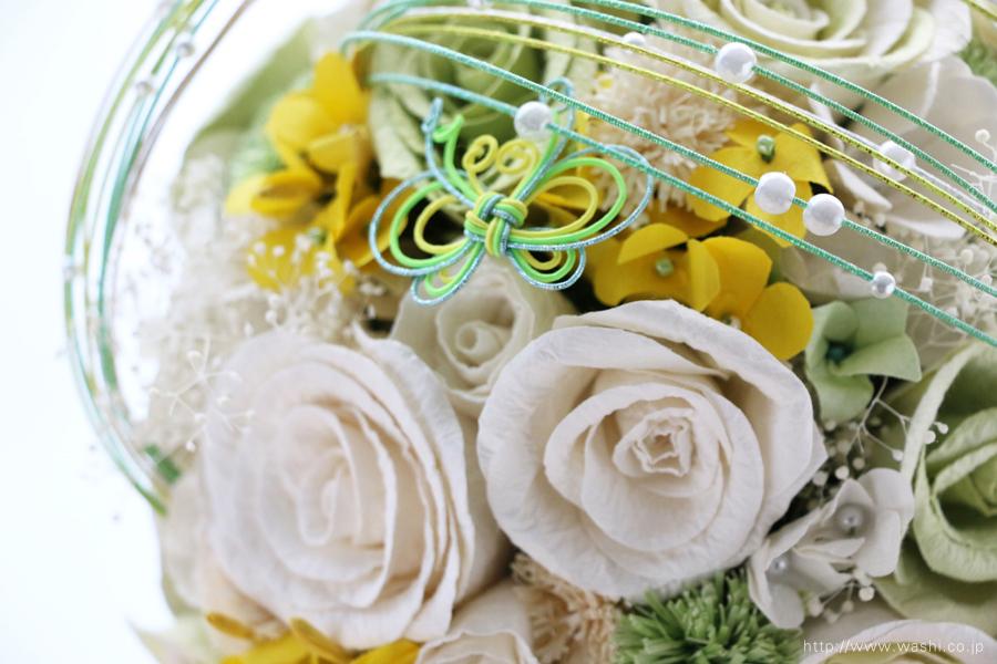 菜の花の和紙ウェディングブーケ(アップ写真)結婚式用